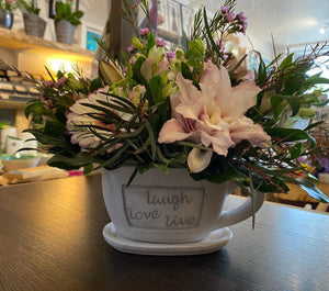 LIVE .. LOVE ... LAUGH with Seasonal Fresh Flower Gift Cup - Strelitzia's Floristry & Irish Craft Shop