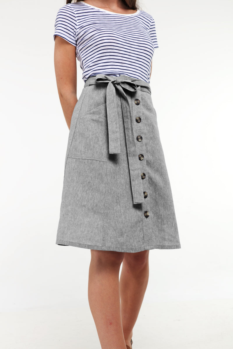 Mid Length Button Skirt