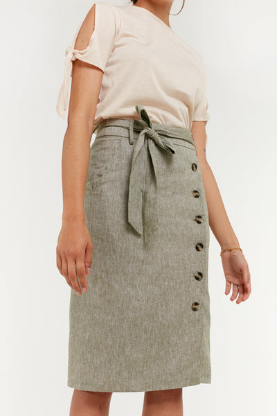 Side Button Down Skirt