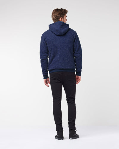 Men's Furry Hoodie - Dark Blue