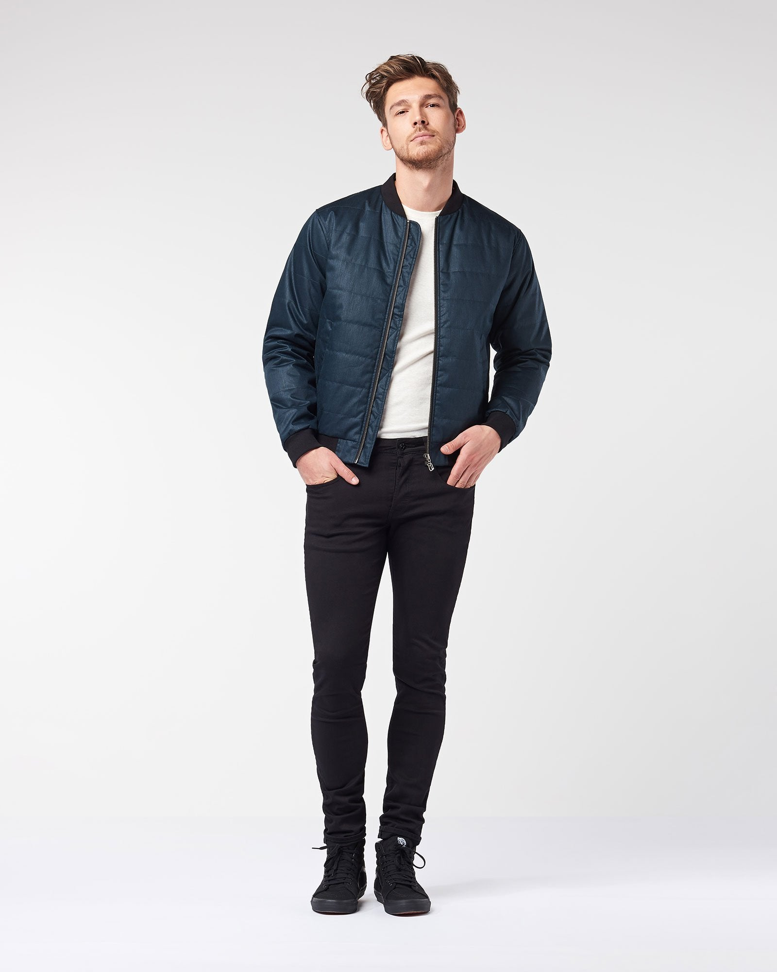 Men's Quilted Bomber - Midnite Blue