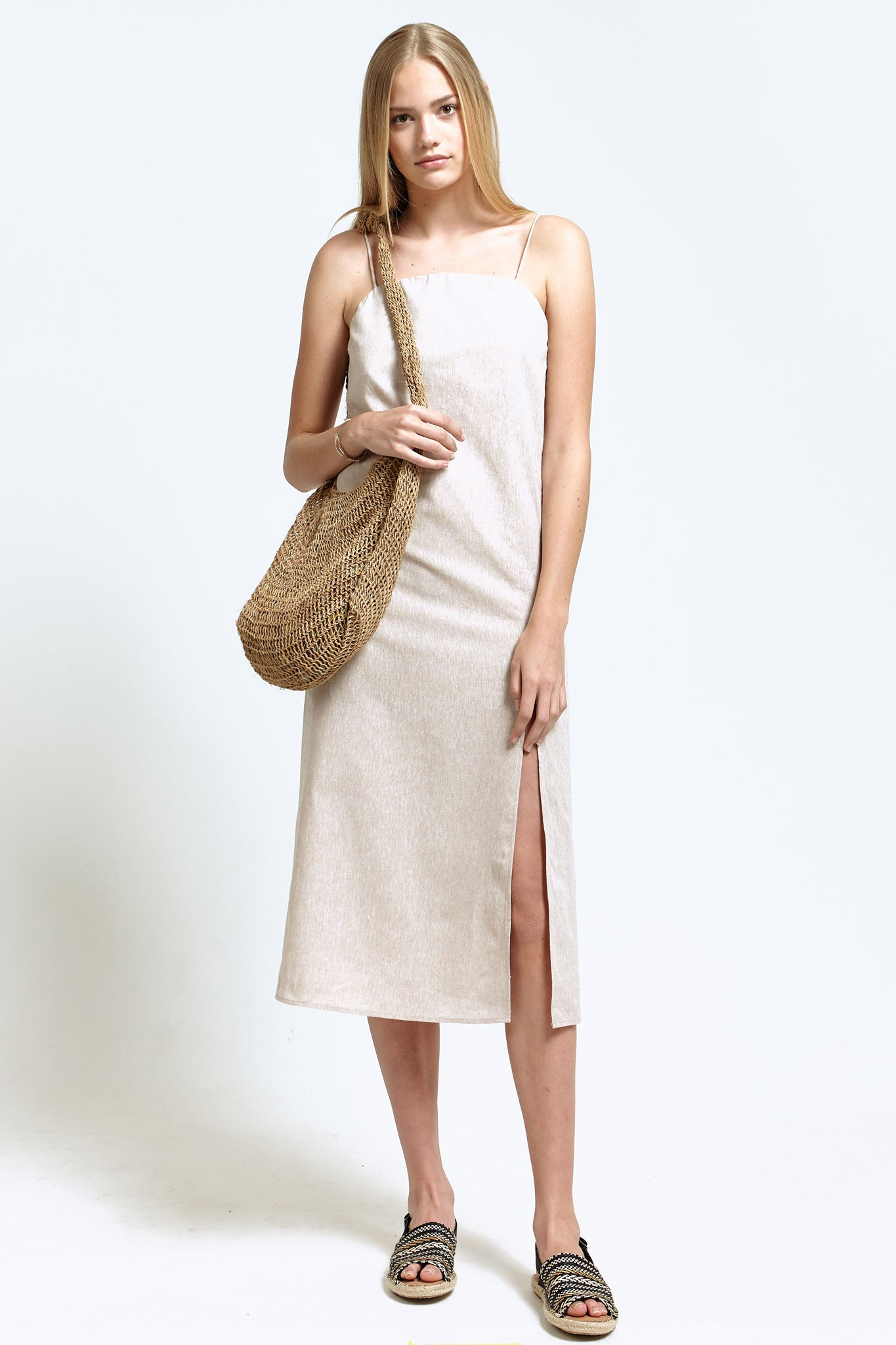 Spaghetti Strap Dress with Split