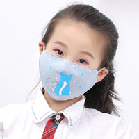 young girl wearing cat and mouse face mask