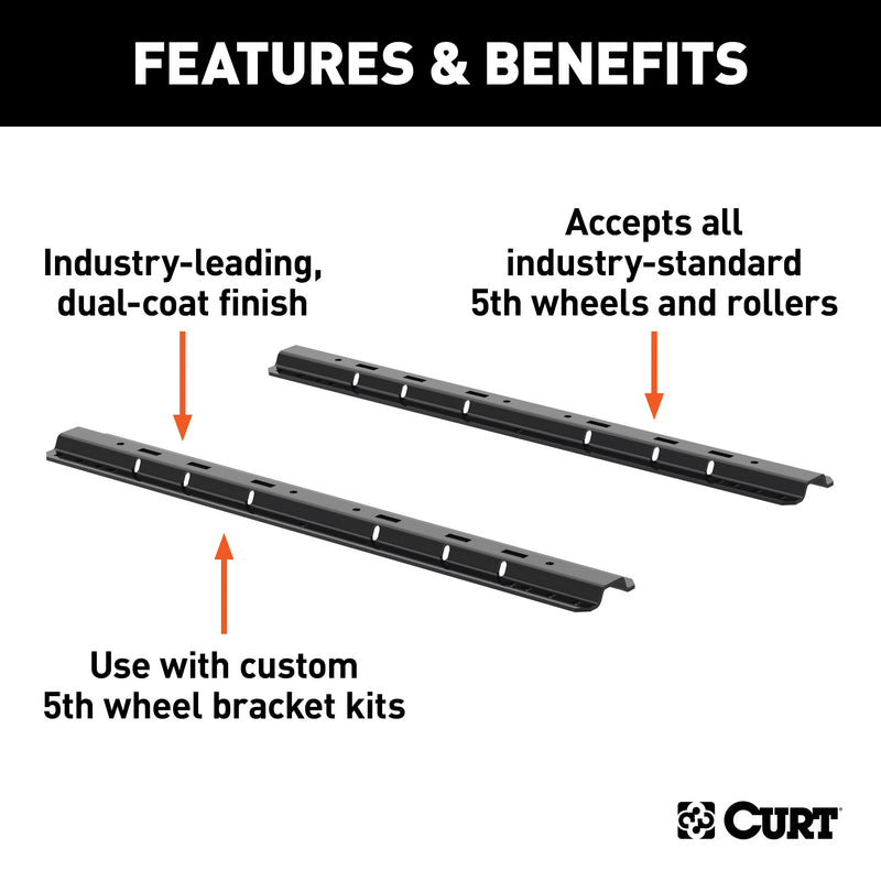 CURT - CURT 16104 Industry-Standard 5th Wheel Hitch Rails, Gloss Black, 25,000 Pounds - 16104