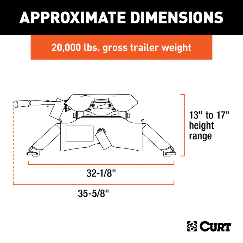 CURT - CURT 16140 A20 5th Wheel Hitch, 20,000 lbs - 16140