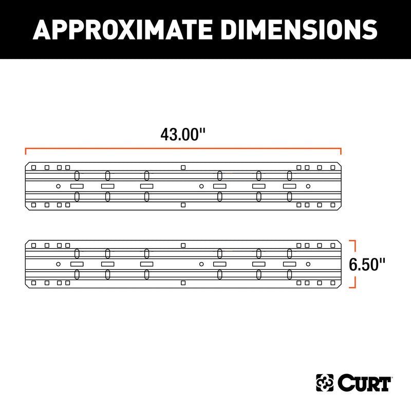 CURT - CURT 16204 Industry-Standard 5th Wheel Hitch Rails, Carbide Black, 25,000 Pounds - 16204