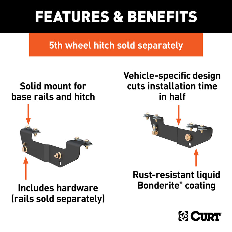 CURT - Custom 5th Wheel Brackets, Select Silverado, Sierra 1500, 2500, 3500, HD - 16418