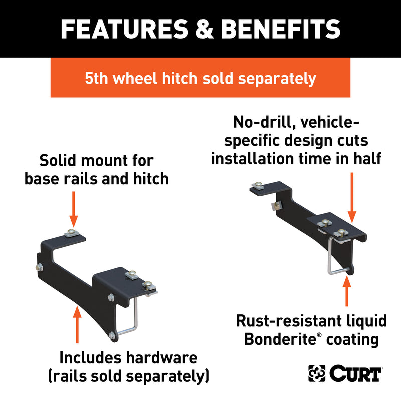 CURT - Custom 5th Wheel Brackets, Select Chevrolet Silverado, GMC Sierra 2500, 3500 HD - 16429