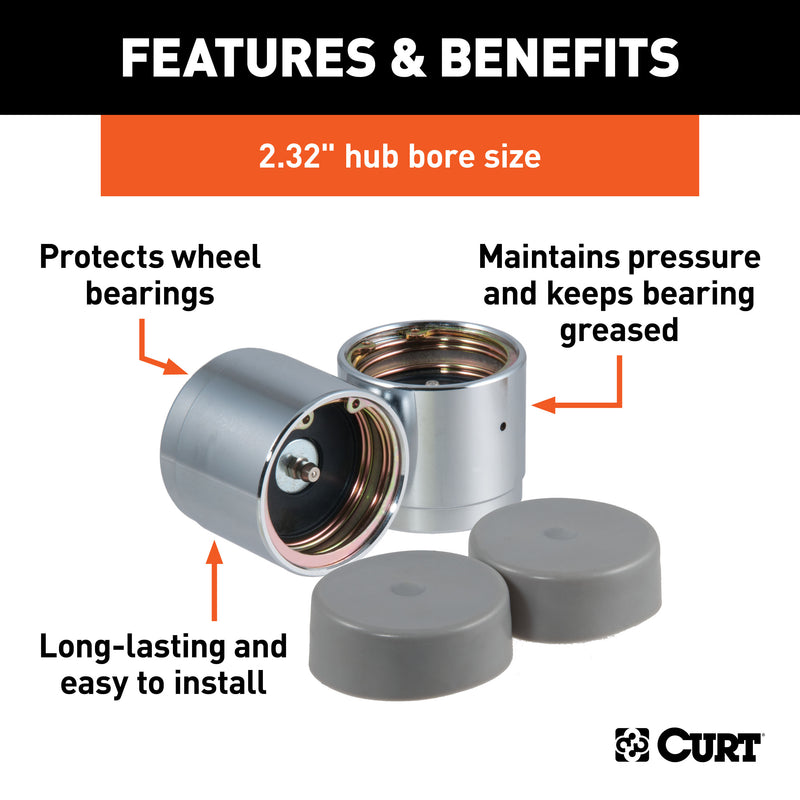 CURT - CURT 22232 2.32-Inch Trailer Wheel Bearing Protectors and Dust Covers, 2-Pack - 22232