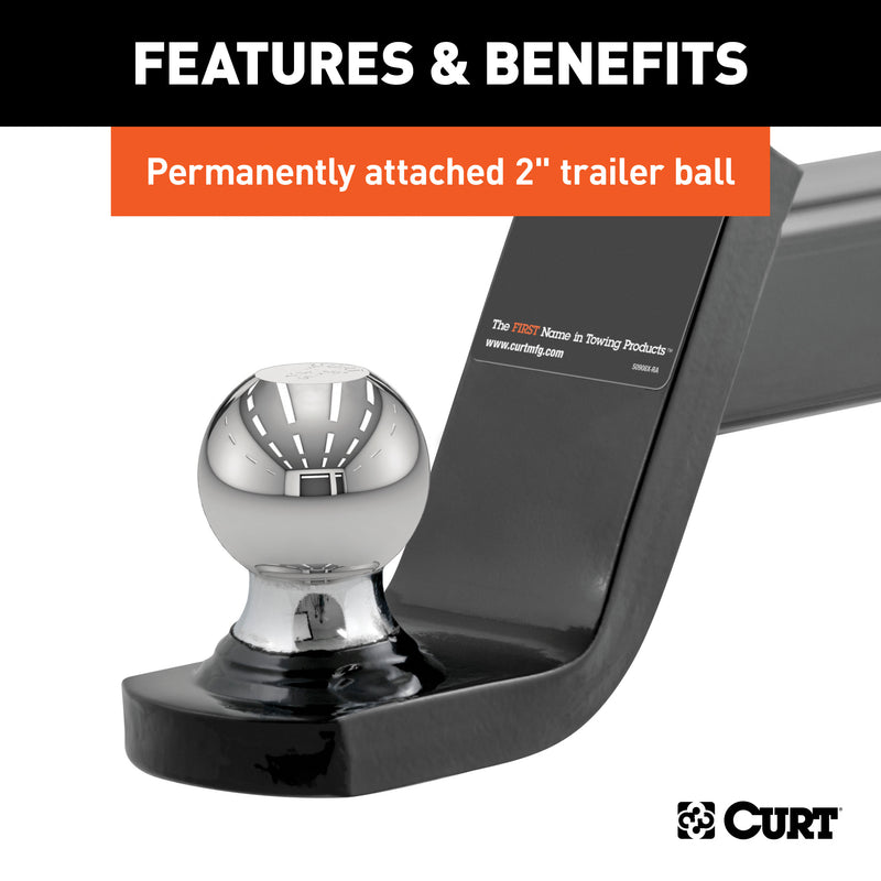 "CURT - Fusion Ball Mount with 2"" Ball (2"" Shank, 7,500 lbs., 4"" Drop) - 45154"
