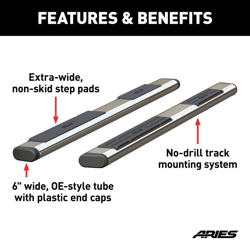 "ARIES - 6"" x 85"" Polished Stainless Oval Side Bars (No Brackets) - S2885"