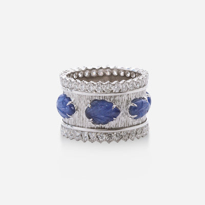 Kate & Mimi Sapphire Cabochon Leaf and Diamond Eternity Ring