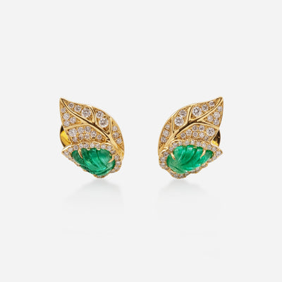 Kate & Mimi 18K yellow gold Emerald Leaf cabochons and Diamond Leaf earrings front view