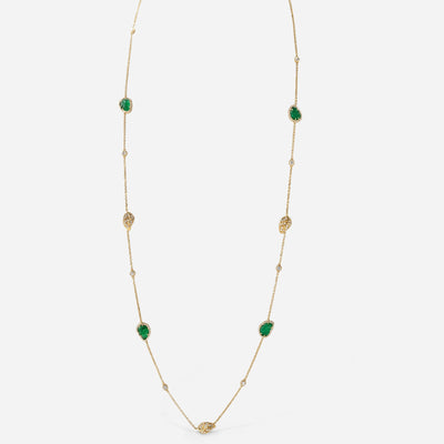 Kate & Mimi 18K yellow gold Emerald Cabochon Leaf and Diamond Pavé leaves diamond necklace with Forevermark Diamonds