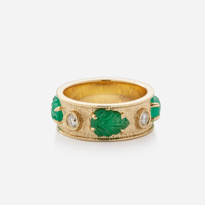 Kate & Mimi 18K yellow gold Emerald Leaf Cabochons and Forevermark Diamonds eternity ring