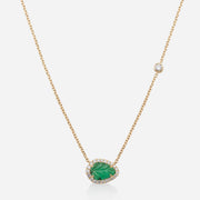Kate & Mimi 18K yellow gold Emerald Leaf Cabochon and Diamonds necklace with 1 Forevermark Diamond