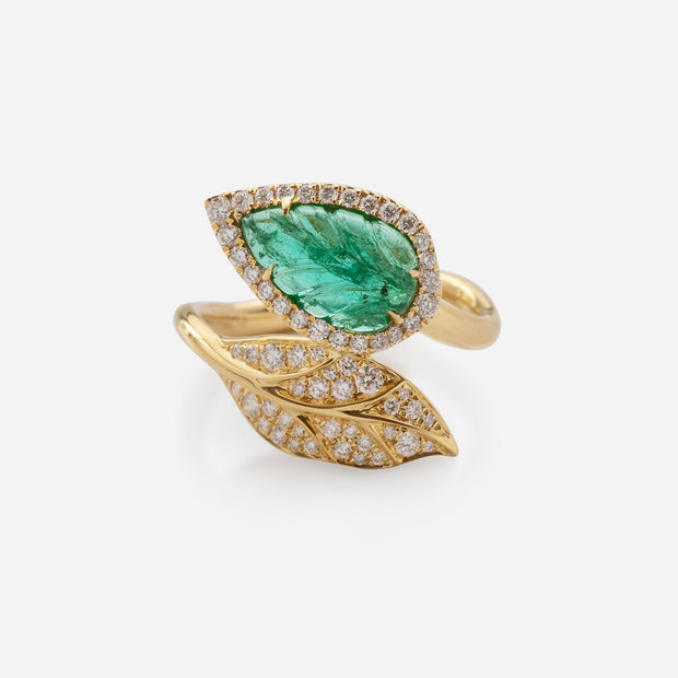 Kate & Mimi 18K Yellow Gold Emerald Cabochon and Diamond Leaf Wrap Ring