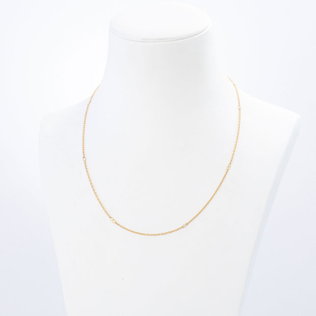 Kate & Mimi Yellow Gold Diamond Necklace Double Bezels