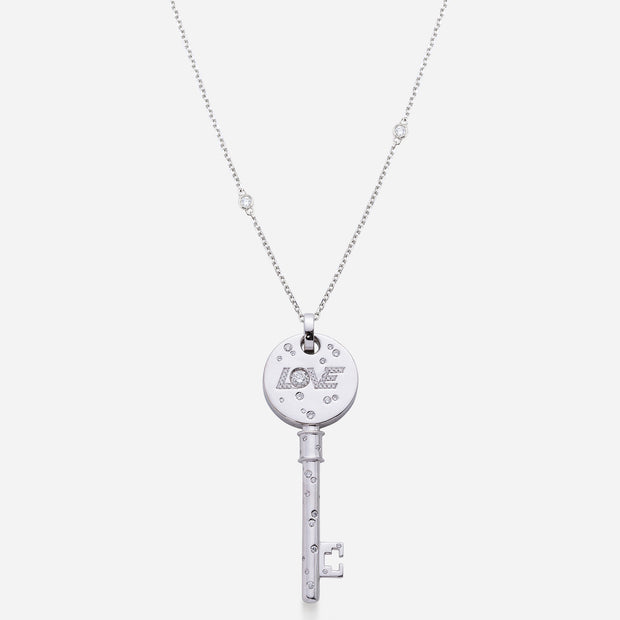 Reversible Large Forevermark Diamond & Pavé Sapphires Love Key Pendant