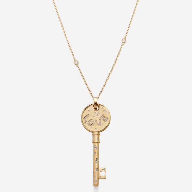 Kate and Mimi Double-sided Large Curved Love Key Pendant front view with chain
