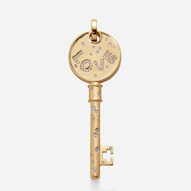 Kate and Mimi Double-sided Large Curved Love Key Pendant front view