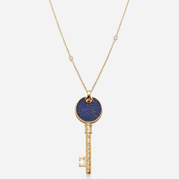 Kate and Mimi Double-sided Large Diamond & Sapphire Love Key Pendant back view