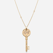 Kate and Mimi Double-sided Large Diamond & Sapphire Love Key Pendant front view with chain