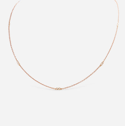 Kate and Mimi Rose Gold Double Bezel Diamond Necklace