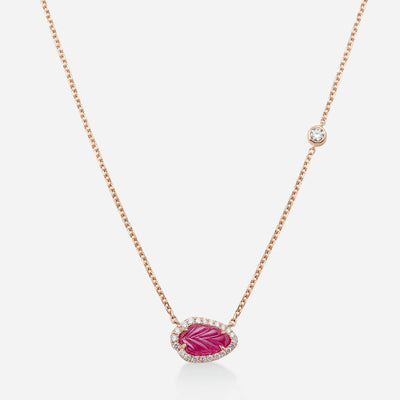 Kate & Mimi Ruby Leaf Cabochon and Diamonds necklace with Forevermark Diamond