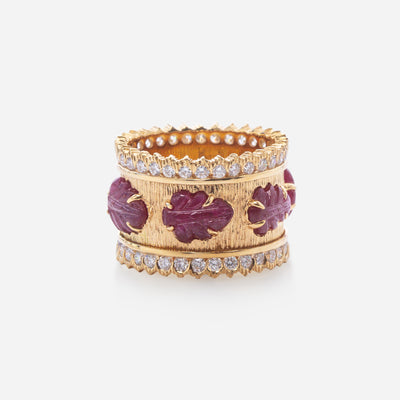 Kate & Mimi Ruby Cabochon Leaf and Diamond Eternity Ring