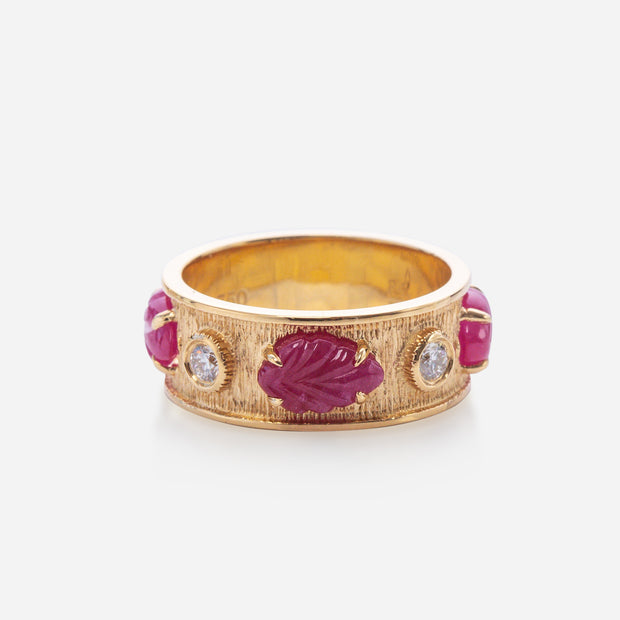 Kate & Mimi 18K yellow gold Ruby Cabochon Leaf and Forevermark Diamonds Eternity Ring