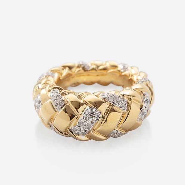 Kate & Mimi  Woven Oval Ring with 7 Forevermark diamonds