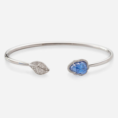 Kate & Mimi 18K White Gold Sapphire Leaf Cabochon and Diamonds bangle