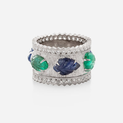 Kate & Mimi 8K white gold alternating Sapphire Cabochon Leaf and Emerald Leaf Cabochon and Diamond Eternity Ring