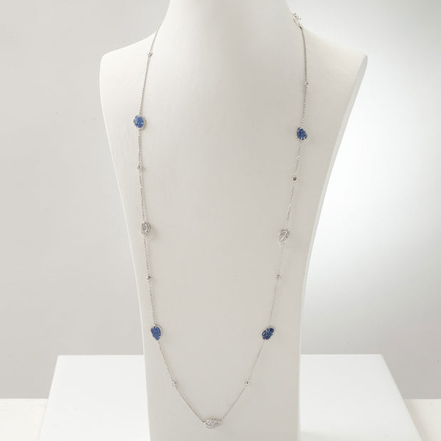 Kate & Mimi 8K white gold Sapphire Cabochon Leaf and Diamond Pavé leaves diamond necklace with Forevermark Diamonds