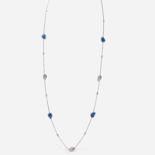 Carved Gemstone Leaves & Forevermark Diamond Necklace