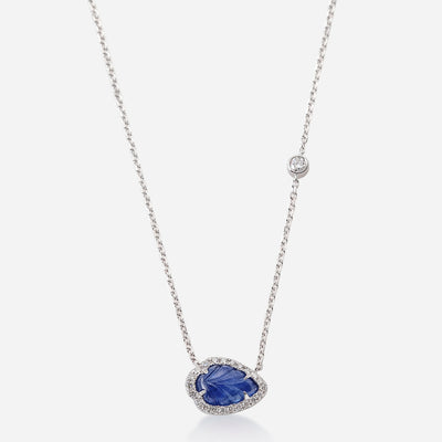 Kate and Mimi Cabochon Sapphire Leaf and Forevermark Solitaire Diamond Necklace