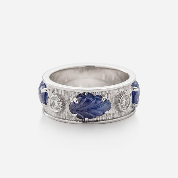Kate & Mimi 18K White Gold Sapphire Cabochon Leaf and Forevermark Diamonds Ring
