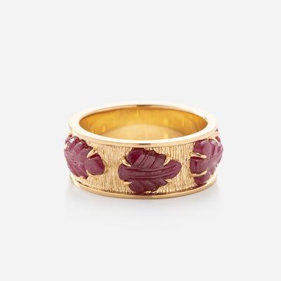 Kate & Mimi Ruby Cabochon Leaf Eternity Ring