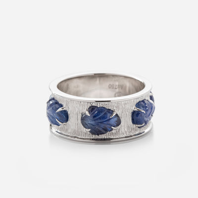 Kate & Mimi Sapphire Cabochon Leaf Eternity Ring