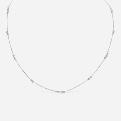 Kate and Mimi White Gold Diamond Necklace with Triple Bezels