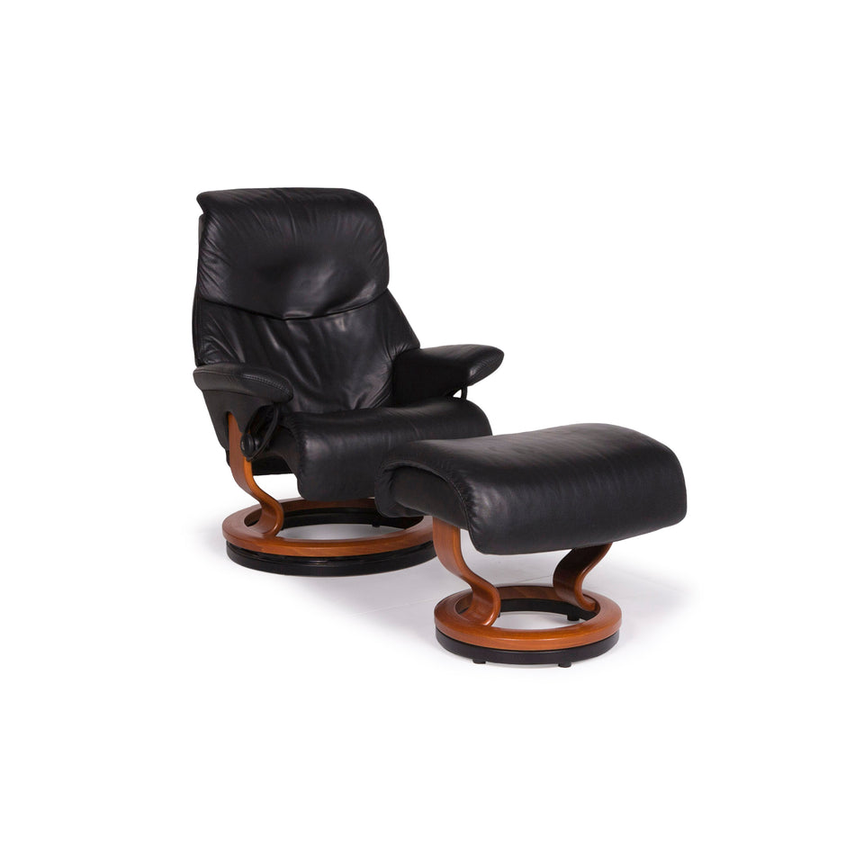 Stressless Leder Sessel Garnitur Schwarz Relaxfunktion Hocker #11431