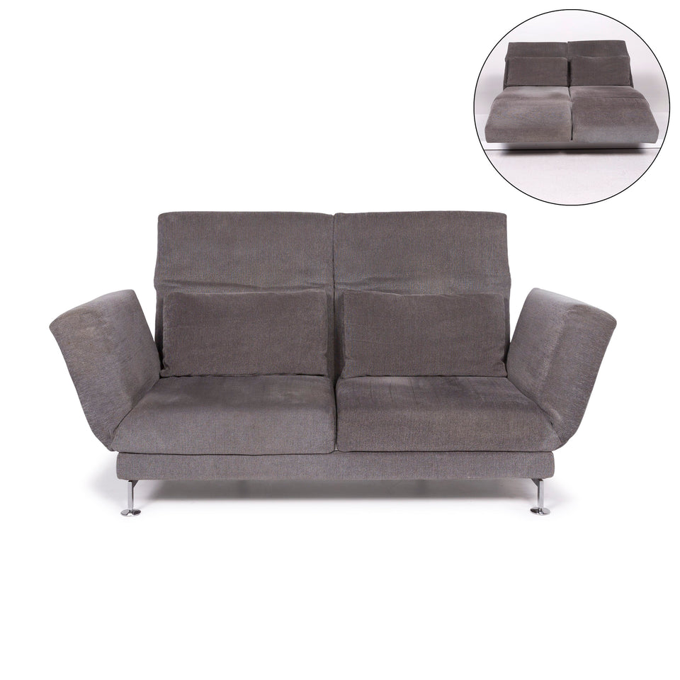 Brühl & Sippold Moule Stoff Sofa Grau Zweisitzer inkl. Funktion #11428