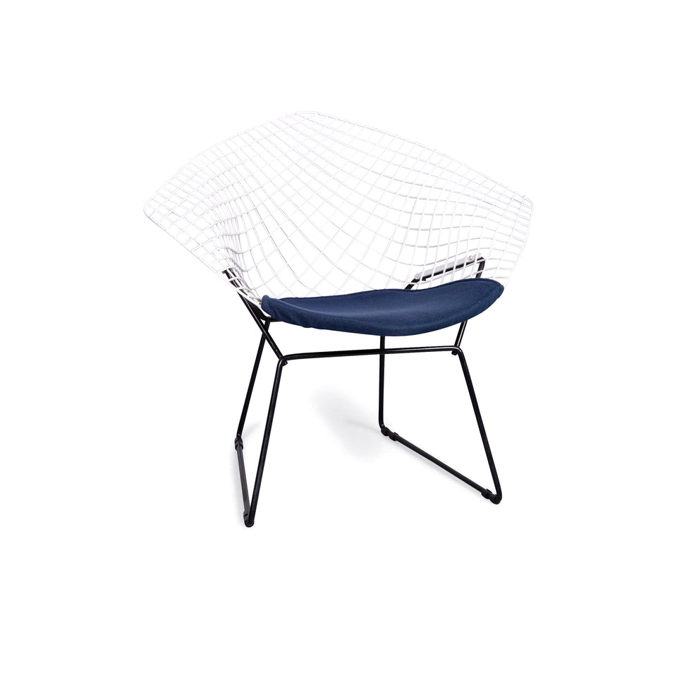 Knoll International Diamond Chair Harry Bertoia Sessel Weiß Stoff Stuhl #6747