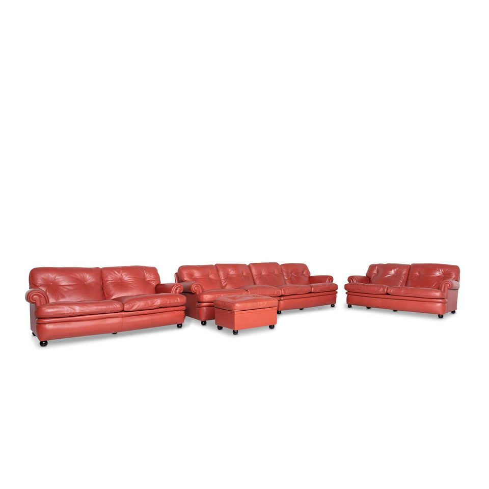 Poltrona Frau Dream On Leder Sofa Garnitur Orange 1x Viersitzer 2x Zweisitzer 1x Hocker #9683
