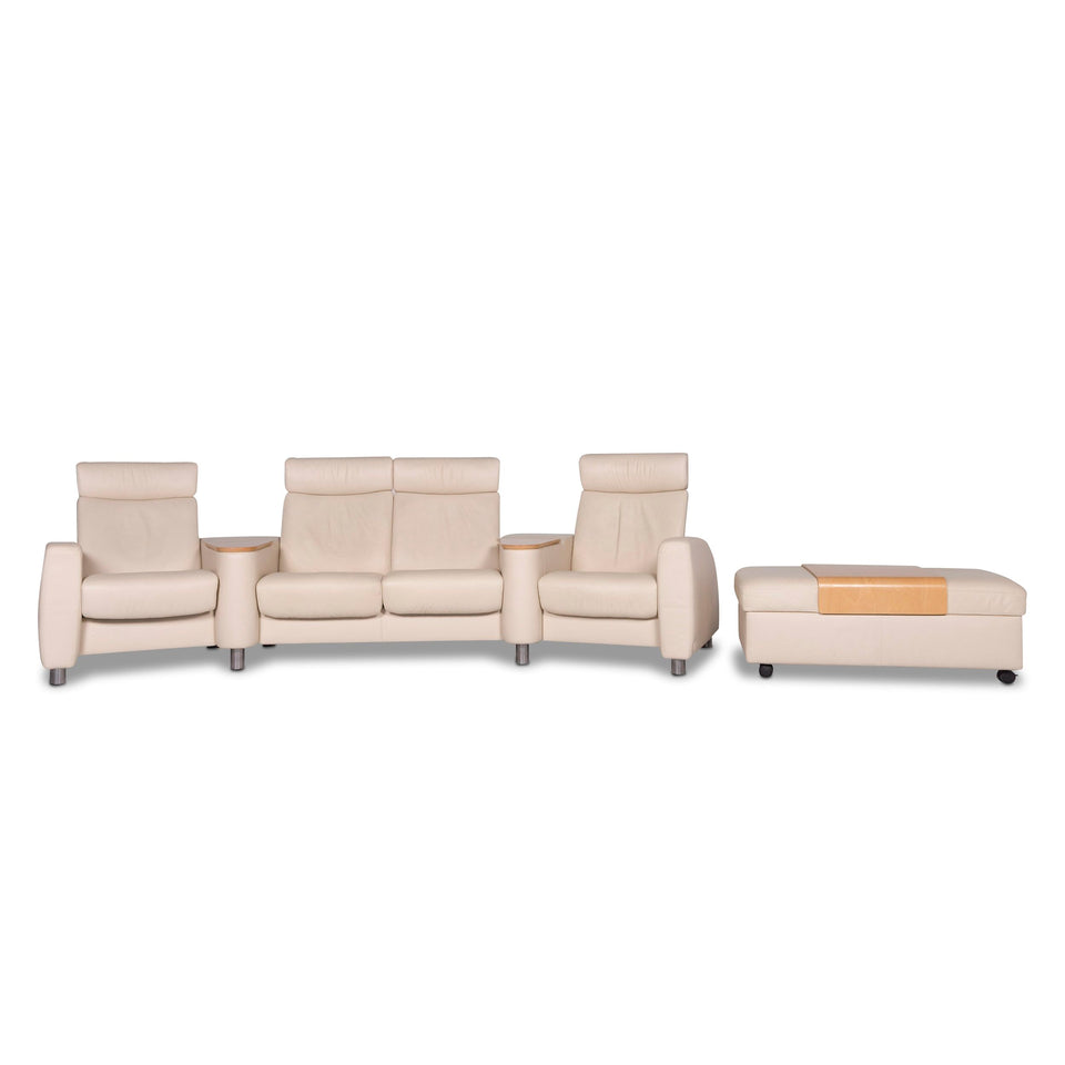 Stressless Arion Leder Sofa Garnitur Beige 1x Viersitzer 1x Hocker #9618