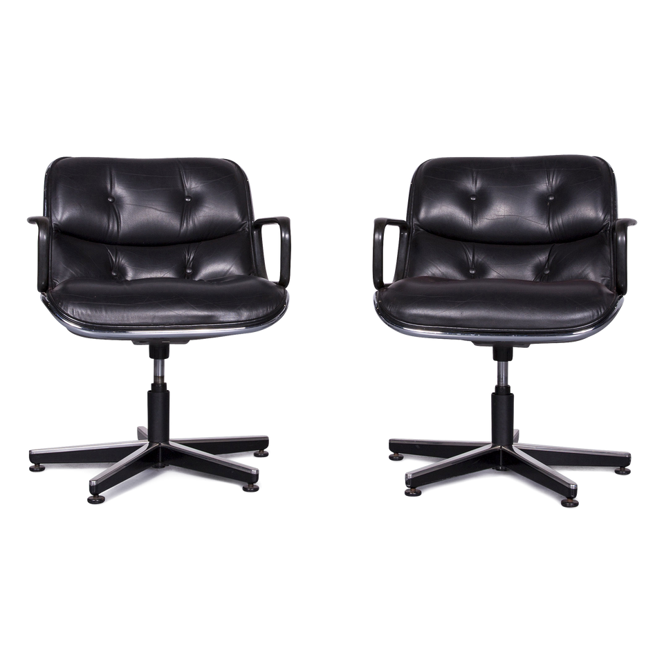 Knoll International Pollock Executive Chair Leder Sessel Garnitur Schwarz Echtleder Stuhl #6963
