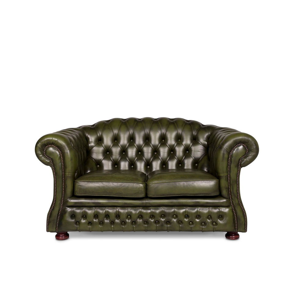 Chesterfield Leder Sofa Grün Zweisitzer Retro Couch #9621