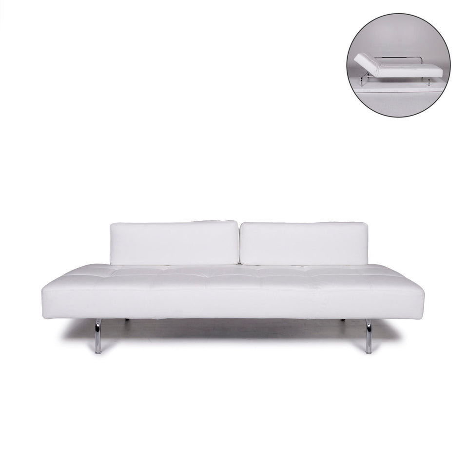 Brühl & Sippold Jerry Leder Sofa Weiß Dreisitzer Funktion Relaxfunktion Couch #10923