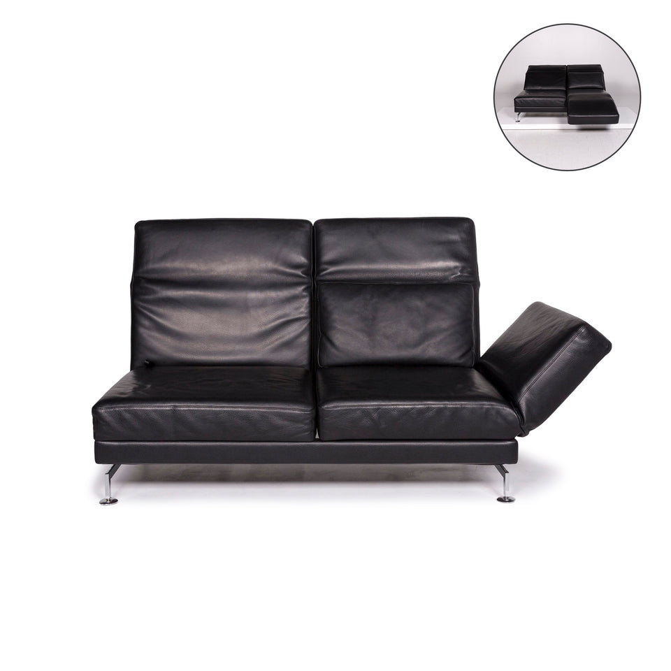 Brühl & Sippold Moule Leder Sofa Schwarz Zweisitzer Relaxfunktion Funktion Couch #12052